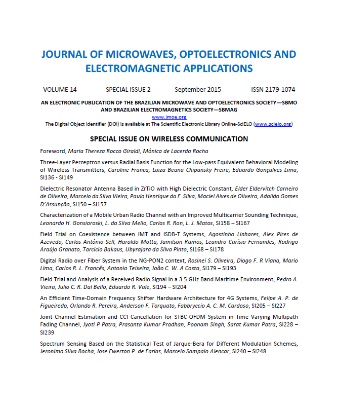 View Vol. 14 (2015): SPECIAL ISSUE 2 - WIRELESS COMMUNICATION